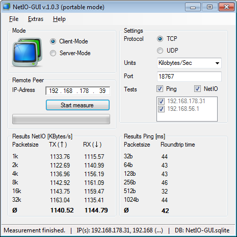 NetIO-GUI user interface in portable mode