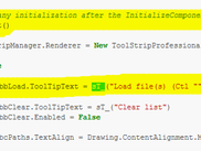 1) Code: initialization + UI strings, wrapped in sT_() calls