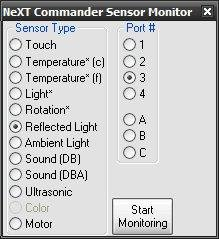The sensor monitoring dialog.