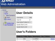 User details in NMail's Web Admin ASP.net pages.