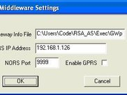 NORS Middleware settings window at application server