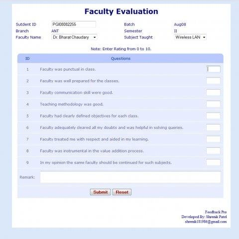 Open Faculty Evaluation System Download | Sourceforge.Net