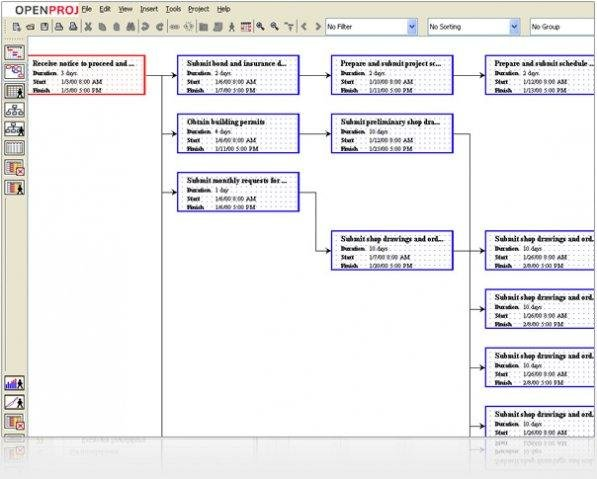 openproj   project management   sourceforge netnetwork diagram main screen  ›
