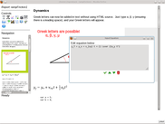 View of Report Editor showing equation input, editable graphics and code block.