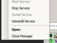 Tray icon of manager with popup menu opened