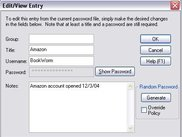 PasswordSafe Edit/View Dialog box
