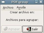 The main window of pdfgroup (0.0.2)