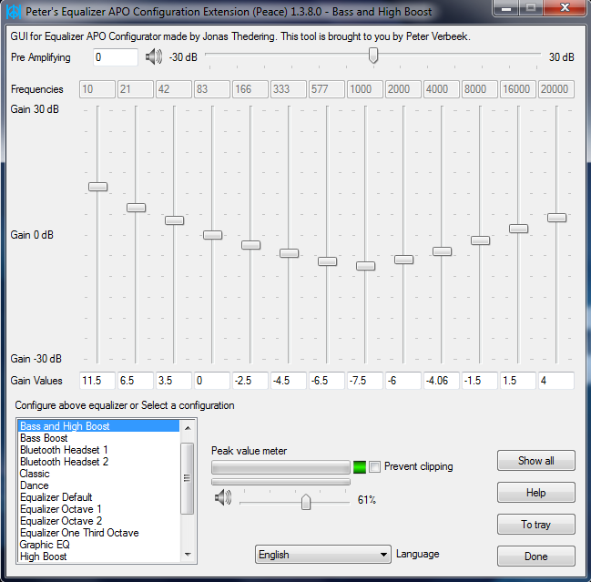 Peace Equalizer, interface Equalizer APO download