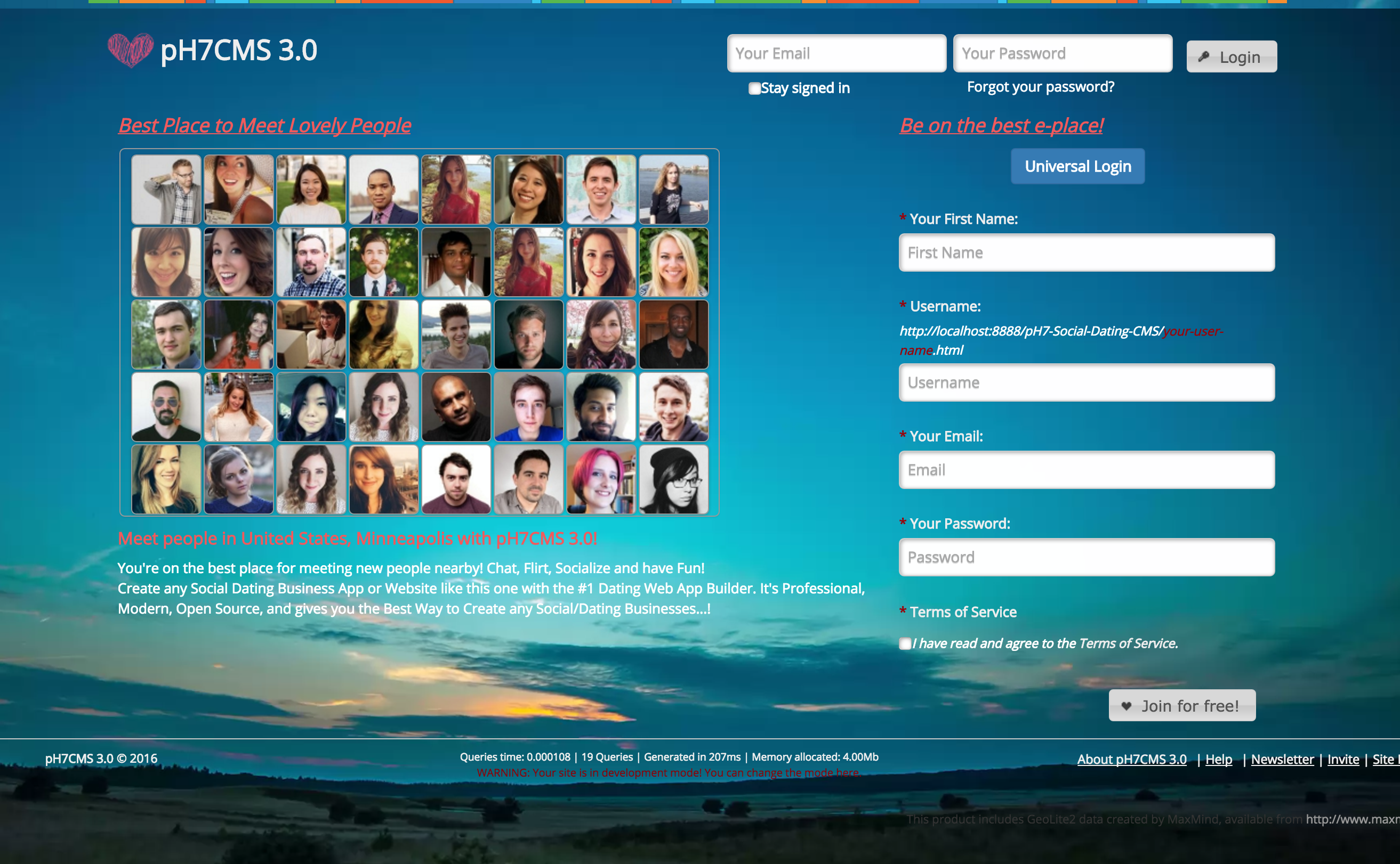 Ph7 social dating cms demo