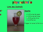 An example of a cocktail list (french language)
