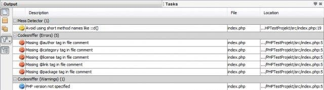 PHP Task Items in NetBeans Tasklist Window