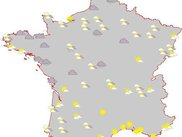 Map for France showing the current weather conditions
