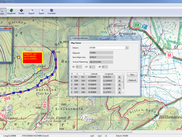 Map calibration window, route and waypoints