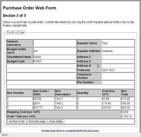 Purchase Order Web Form Download  SourceforgeNet