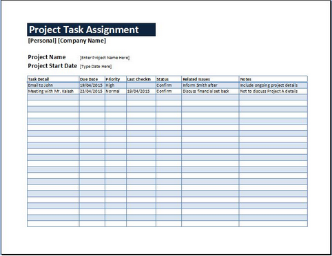 Task assignment sheet