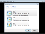 Select the certificate to use for authentication when connecting to a ssh server.