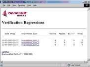 Main report page that contains list of regression results