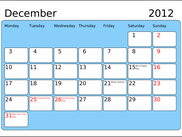 Calendar page for December 2012, using Bitstream Vera fonts.