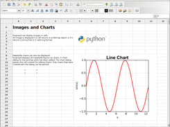 Pyspread displaying an image and a chart