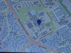 Map display (Open Street Map) showing the worst university in Warsaw