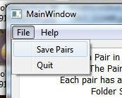 Menu - Save Pairs and Quit