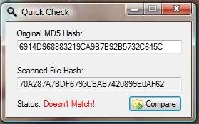 When the hashes of the file does not match the original.