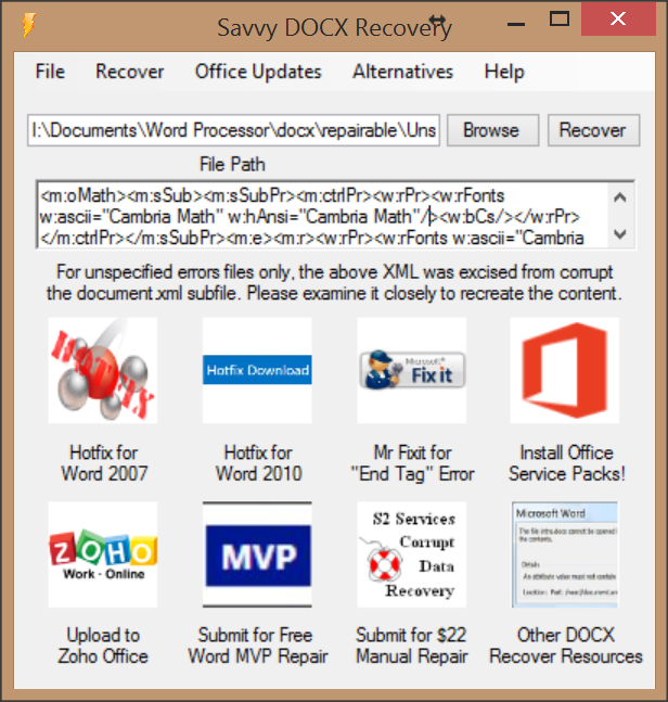 Savvy DOCX Recovery download | SourceForge net