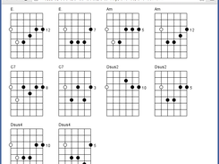 Diagrams appear in an HTML page, which you can save, upload to a web server, etc.  Two different versions of each chord are displayed (root notes on the 6th and 5th strings)