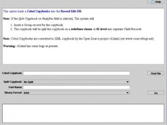 Cobol / XML Layout import screen