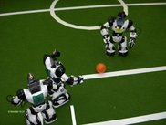 An attacker close to the goal (at RoboCup German Open '05)