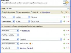 Apply actions to news based on search criterias