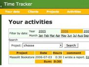 Home page of the first working version of Time Tracker