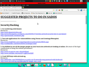SadOS 0.9 displaying the PROJECTS.html file