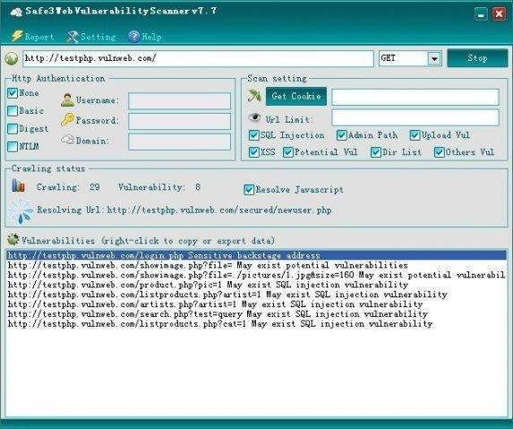 Safe3 Web Vulnerability Scanner download   SourceForge net