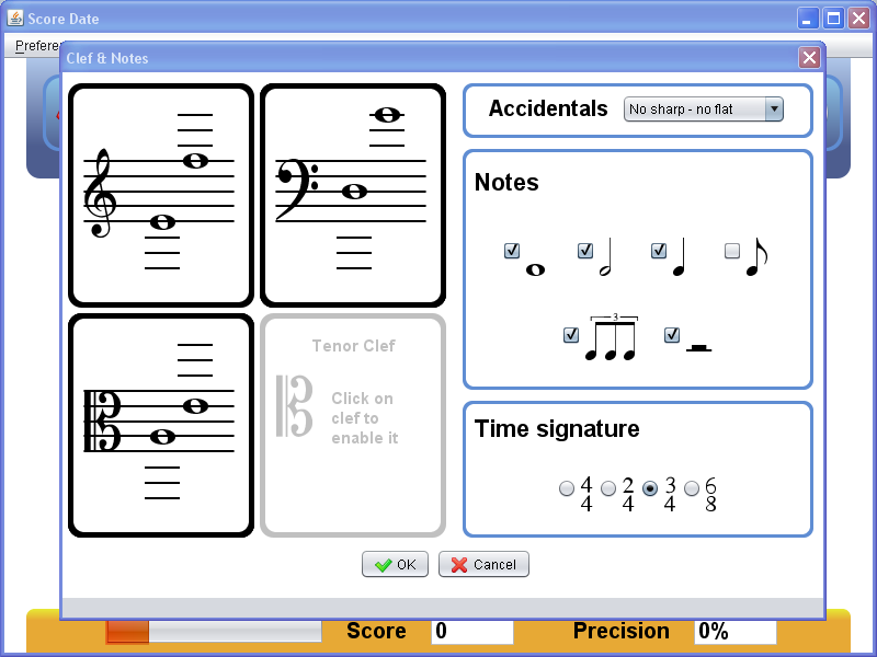 crescendo how to create a score with clef and bass