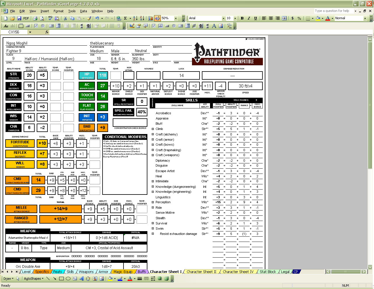 SCoreForge Pathfinder Character Creator Download