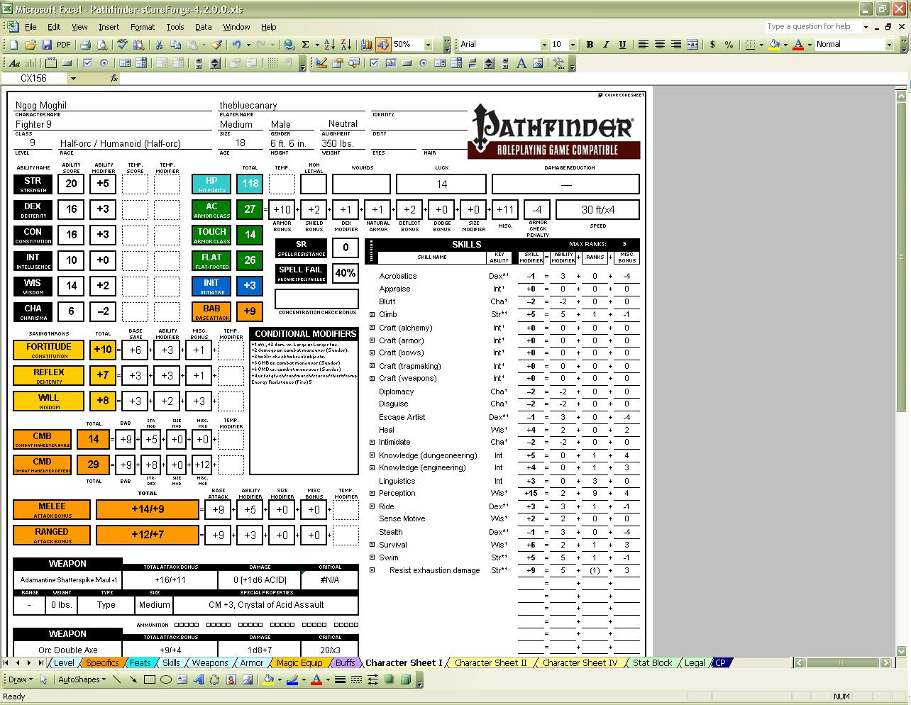 pathfinder inventory sheet