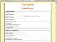Installation page to setup ServMon