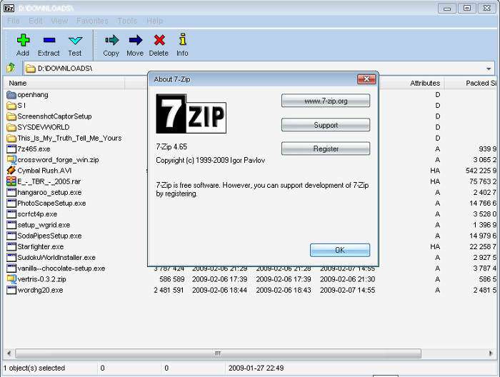7-Zip (x64 bit) screenshot