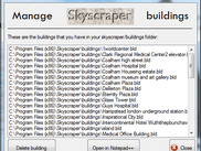 The 'Manage Buildings' screen, with Notepad++ as the text editor