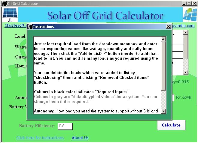 Solar Offgrid Calculator Download Sourceforge Net