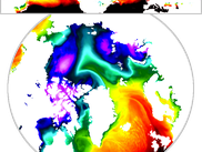 Warm incursion into the Arctic, interpolated from a lat-lon regular grid to a polar stereographic projection with the Akima method of SOSIE. Snaphost of ERA-Interim 2M air temperature, 2nd of january 2014.