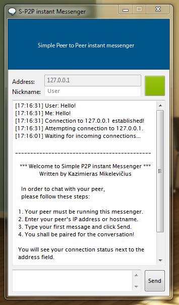 Simple Peer to Peer instant messenger download   SourceForge net