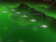 squadron of ships, laser blasts, green landscape skybox