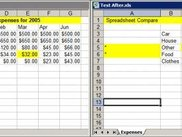 Compared spreadsheets