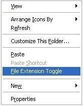 FileExtensionToggle menu (unchecked)