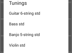 Menu of stringed instruments