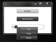 Two button widgets, and an entry widget with a right click menu.