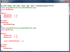 xfind: extract class declarations. ** means many characters across lines.