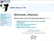 The SyMBA Welcome screen, displaying the user options